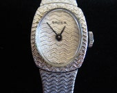 Retro Gruen Dress Watch - Quartz Ladies Gruen Fashion Watch - Woman's Gruen Watch - Elegant Silver Tone Ladies Gruen Watch With New Battrey