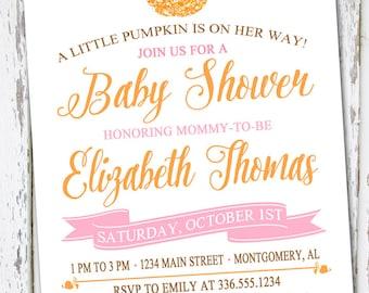 Pumpkin Baby Shower Invite, Fall Invitation,  Baby Shower Invitation, Fall Baby Shower, Pink Pumpkin Shower, Little Pumpkin