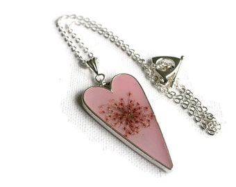 Pink Flower Necklace - Resin Heart Necklace - Pink Heart Necklace - Real Flowers Necklace - Mothers Day Gifts - Flower Jewellery