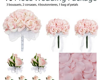 10 Piece Wedding Package - Silk Wedding Flowers - Bridal Bouquets - Pink Rose Wedding Bouquets