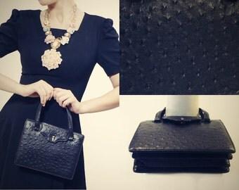 1930s Ostrich Purse - Vintage Leather Handbag - Clearance Sale