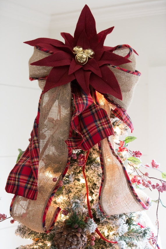 Burlap and Plaid Bow with Bells Tree Topper