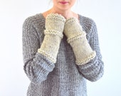 Knit Chunky Fingerless Arm Warmers Gloves // The Madalena // in Wheat