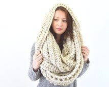 Oversized Chunky Blanket Infinity Scarf // The Prague // in Wheat