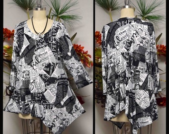 Dare2bstylish Asymmetrcal Love Bug Versatile, Newspaper Print Tunic, Plus size Tunic, for Travel and Much More. M to 3XL