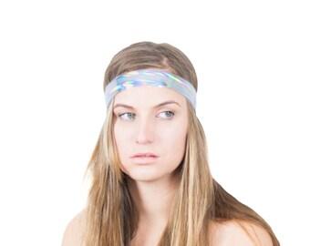 Hologram Hair Band Mirror Finish Silver Headband Multicolor Effect