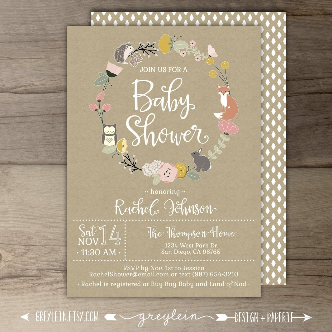 It is an image of Canny Free Printable Woodland Baby Shower Invitations