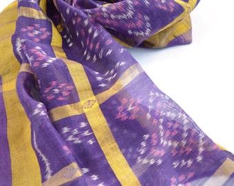 purple silk scarf, ikat scarf, medium tribal scarves, tie dye bandana, indian scarf, small shawl, vintage sari scarf, gypsy boho bohemian