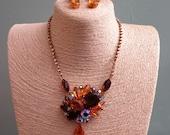 Vintage Necklace and Earrings Set - Vintage Juliana Style Necklace and Earrings Set - Juliana Jewellery - Topaz - Brown - Gold - Vintage Set