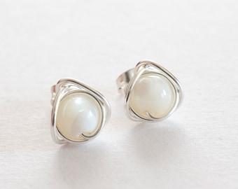 Mother Of Pearl Stud Earrings, Pearl Post Earrings,  Silver Wire Wrapped Stud Earrings