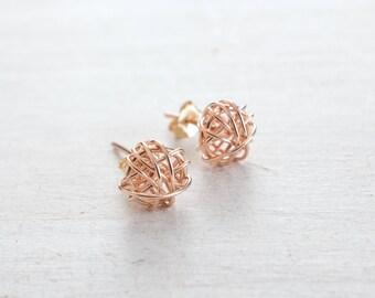 Rose Gold Stud Earrings, Rose Gold or Silver/Gold Earrings, Bridesmaids Gift, Love Knot Earrings, Wedding, Wife Gift, Minimalist Earrings