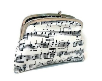 Music notes purse - black & white musical kiss lock wallet with 2 compartments in polka dot, sheet music bar, treble cleft,