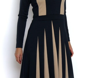 Jersey dress with godets and colour blocking, sleeves and flared skirt, comfy dress, black, stone, knee-length, midi dress, skater dress