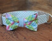 Easter Bow Tie Collar - Blue Gingham Collar with Pastel Plaid Bow Tie and Blue Dot Center