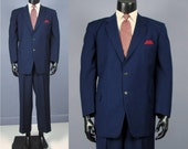 Vintage Suit -- 1950's Men's Blue Wool Multi Dot Stripe Two 2 Piece Suit -- Trousers and Jacket -- Size  42/43 Short