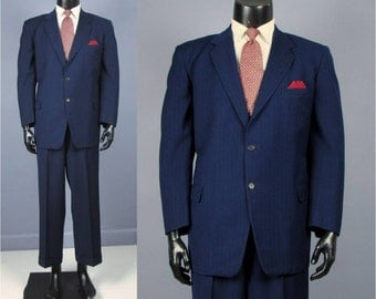 Vintage Suit -- 1950's Men's Blue Wool Multi Dot Stripe Two 2 Piece Suit -- Trousers and Jacket -- Size  42/43 Short