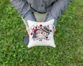 Sugar Skull Ring Pillow - Til Death Do us Part Embroidered Ring Bearer Pillow - Alternative Wedding Ring Pillow
