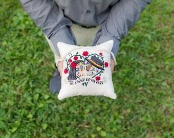 Sugar Skull Ring Pillow - Til Death Do us Part Embroidered Ring Bearer Pillow - Alternative Wedding Ring Pillow