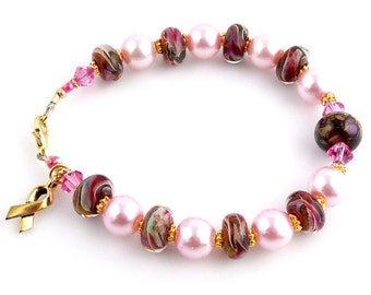 Pink Crystal and Lampwork Cancer Awareness Bracelet, Breast Cancer, Pink Ribbon, Gifts