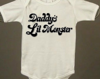 "BABY ONESiE *Daddy's Little Monster"" Cool Hip Edgy Baby Onesies Check Shop Section ""Baby Clothes"" for More Choices. Any 3 for 30 Dollars"