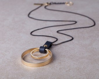Two Circles Gold Necklace, Long Necklace,Leather And Gold Necklace