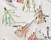 FREE SHIPPING 10 Party fringe metallic noise makers horns