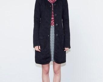 SALE, Black coat, Quilt coat, Winter coat, Knee length coat, Light coat, Women's coat sale, Trendy coats, Fall jacket, Christmas gift