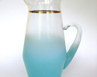 Vintage Mid Century Turquoise Blendo Glass Pitcher West Virginia Glass
