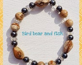 Bracelet brown picture jasper, black jet and crystal beads.  Semi precious healing stones.