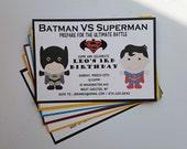 Batman vs Superman Birthday Party Invitation - Superhero Birthday Party - Boy/Girl