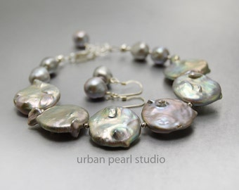 Silver Coin Pearl Bracelet and Earrings Jewelry Set Gray Pearl Bracelet Mother of the Bride Jewelry