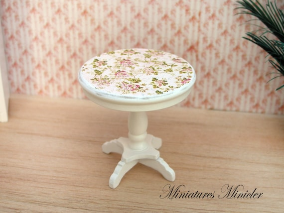 Miniature Dollhouse Round Coffee Table Shabby Chic By Minicler