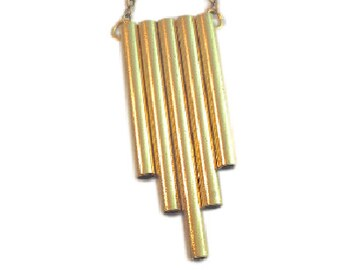 Flute Necklace XL brass tube necklace