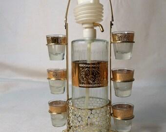 Starlyte Gold Bar Set Decanter 6 Shot Glasses with Brass Holder Handle Scroll Print Hollywood Regency Mid Century Modern Barware