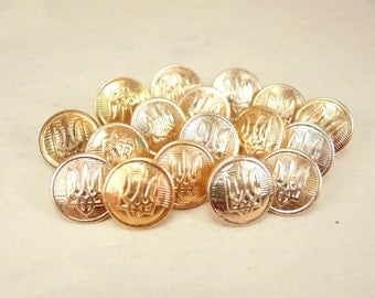 Small gold buttons - set of 17 - b97