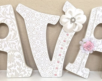 Custom Nursery Letters, Baby Girl Nursery Decor, Wall Letters, Personalized Baby Gift, Light Pink, The Rugged Pearl