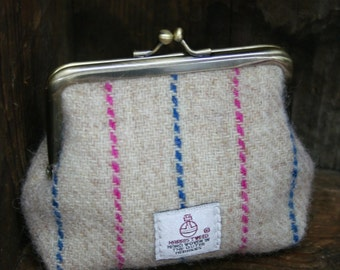Harris Tweed clasp purse with pink and blue stripe and floral lining