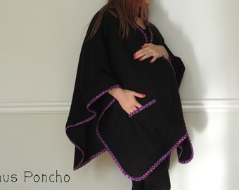 CRAZY SALE 30% OFF - Maternity Wrapping Poncho & Babywearing Coat with Two Pockets - Fleece and Cotton - Choose your color