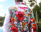 Longsleeve/Shortsleeve Shirt With Stunning Hawaiian Aloha Floral Print 'Big Pink Poppy' . 100% Cotton. Made in USA.