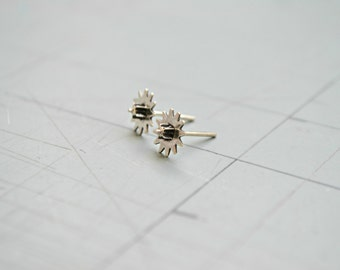 Steampunk Earrings, Mens Gear Earrings, Rustic Gear Post Stud Earrings, 925 Sterling Silver Industrial Punk Edgy Earrings