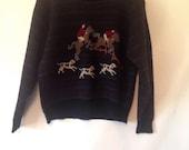 1980s medium vintage sweater Woolrich vintage preppy sweater medium fox and dogs sweater 80s sweater striped 80s clothing wool sweater