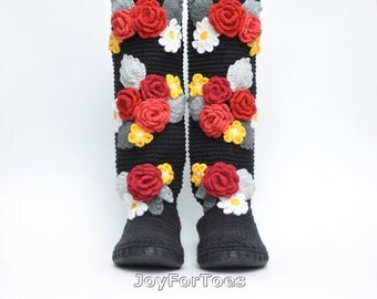 Fall Crochet Boots for the Street Ethnic style Folk Tribal Boots Boho Boots folk art Made to Order