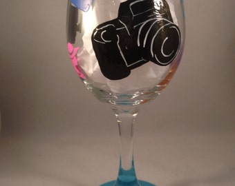 Photographer Hand Painted Wine Glass - Photography