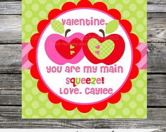 DIY Valentine Favors, Valentine Tags, Personalized Favor Tags, Valentine's Day, Valentine DIY Stickers, Applesauce Tags, Classroom Treat