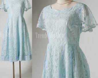 Vintage 60s Dress, Vintage Blue Dress, Blue lace dress, Party dress, formal dress - S/M