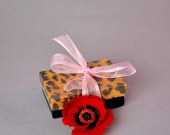 Valentine Red Flower Brooch