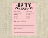 Pink Baby Predictions Card - Printable Digital Download, Instant Download - Baby Shower Activity, Advice and wishes