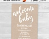 Kraft Baby Shower Invitation Minimalist Unisex Gender Neutral - Printable - Hand lettered kraft paper Rustic Invitation Boy Girl