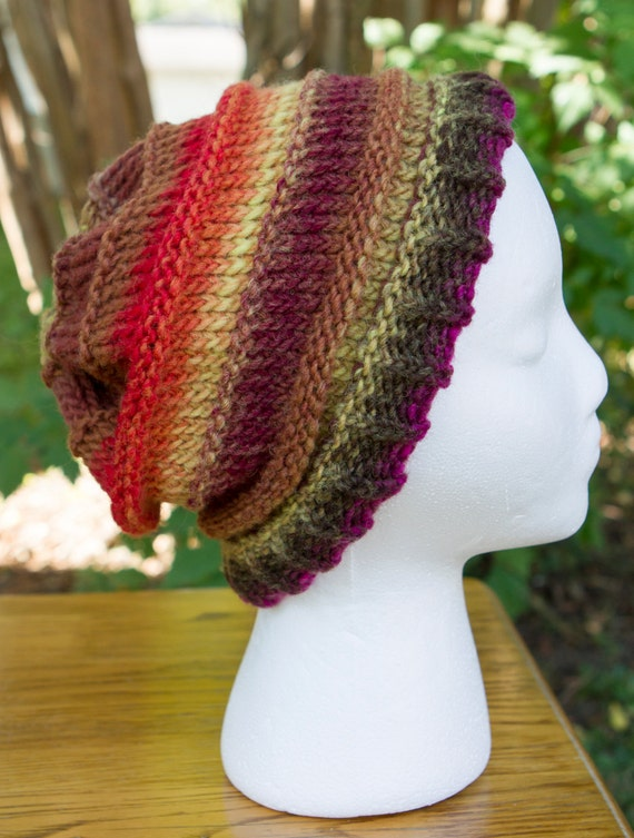 The Perfect Slouchy Hat - 100% Hand Dyed Wool - Autumn Colors