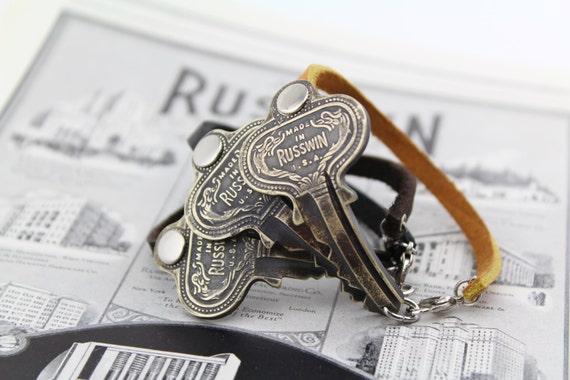 1920's Russwin Door Key & Leather Bracelet - Repurposed - Upcycled - Hardware - Industrial - Vintage - Unisex